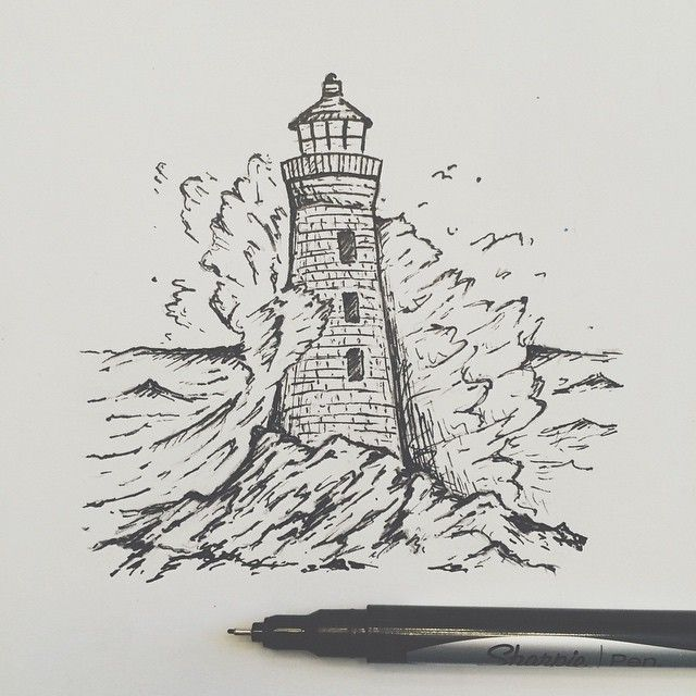 "Lighthouse with waves clipart black and white png library stock Wrapping up the lighthouse drawing."" Lighthouse- Bold black and ... png library stock"