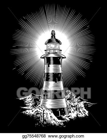 Lighthouse with waves clipart black and white vector library library Vector Art - Lighthouse and waves. EPS clipart gg75548768 - GoGraph vector library library