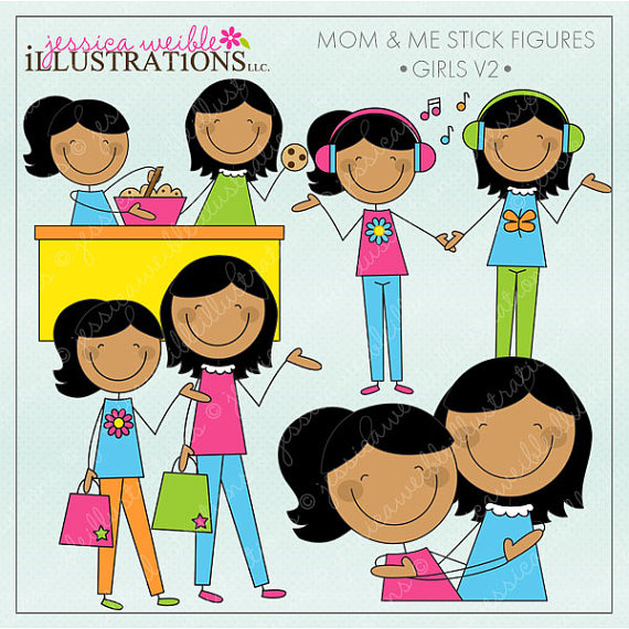 Like mother like daughter clipart vector black and white download Mom and Me Stick Figures Girls V2 Cute Digital Clipart for vector black and white download