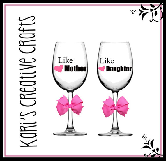 Like mother like daughter clipart banner transparent library Like Mother Like Daughter Wine Glass Set Mother and Daughter banner transparent library