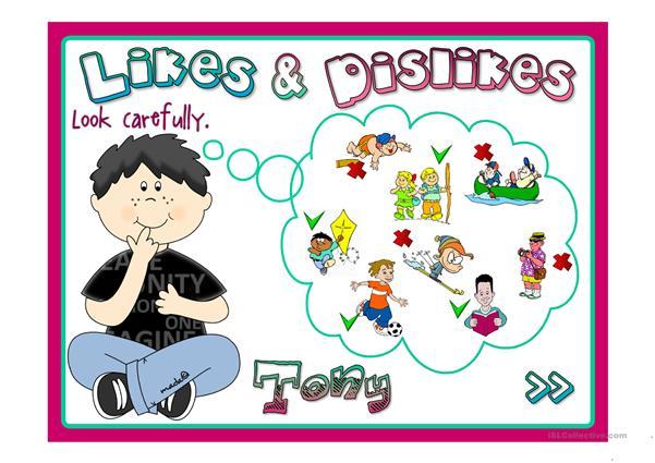 Likes and dislikes clipart clip art Likes & Dislikes - English ESL Powerpoints clip art