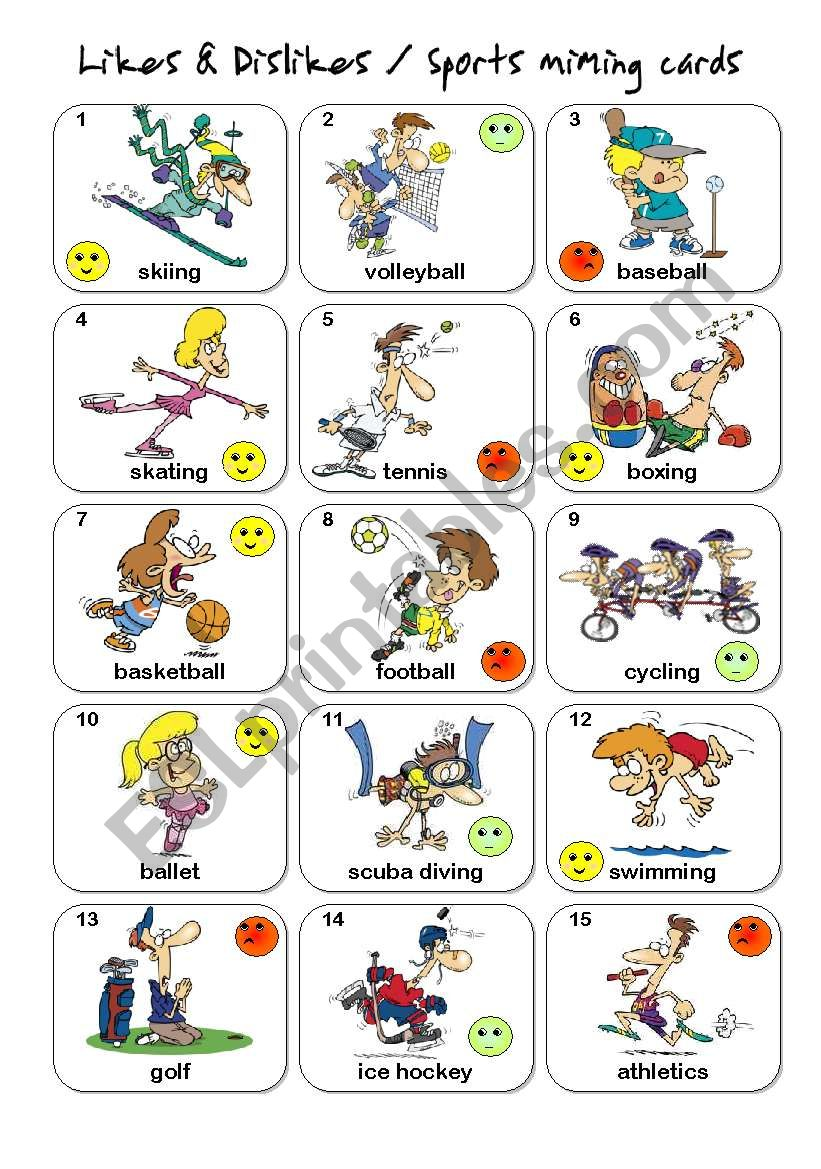 Likes and dislikes clipart image library library Likes & Dislikes / Sports Miming cards -set 1 - ESL ... image library library