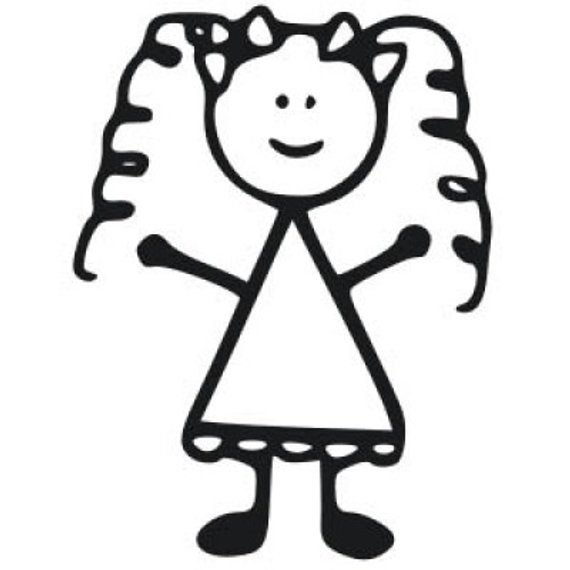 Lil girl curly hair clipart free vinyl clip freeuse stock Little Girl Stick Decal, Girl Car Decal, Curly Hair Girl ... clip freeuse stock