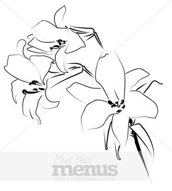 Lilies graphics jpg black and white library Three Brushstroke Lilies   Flower Menu Graphics jpg black and white library