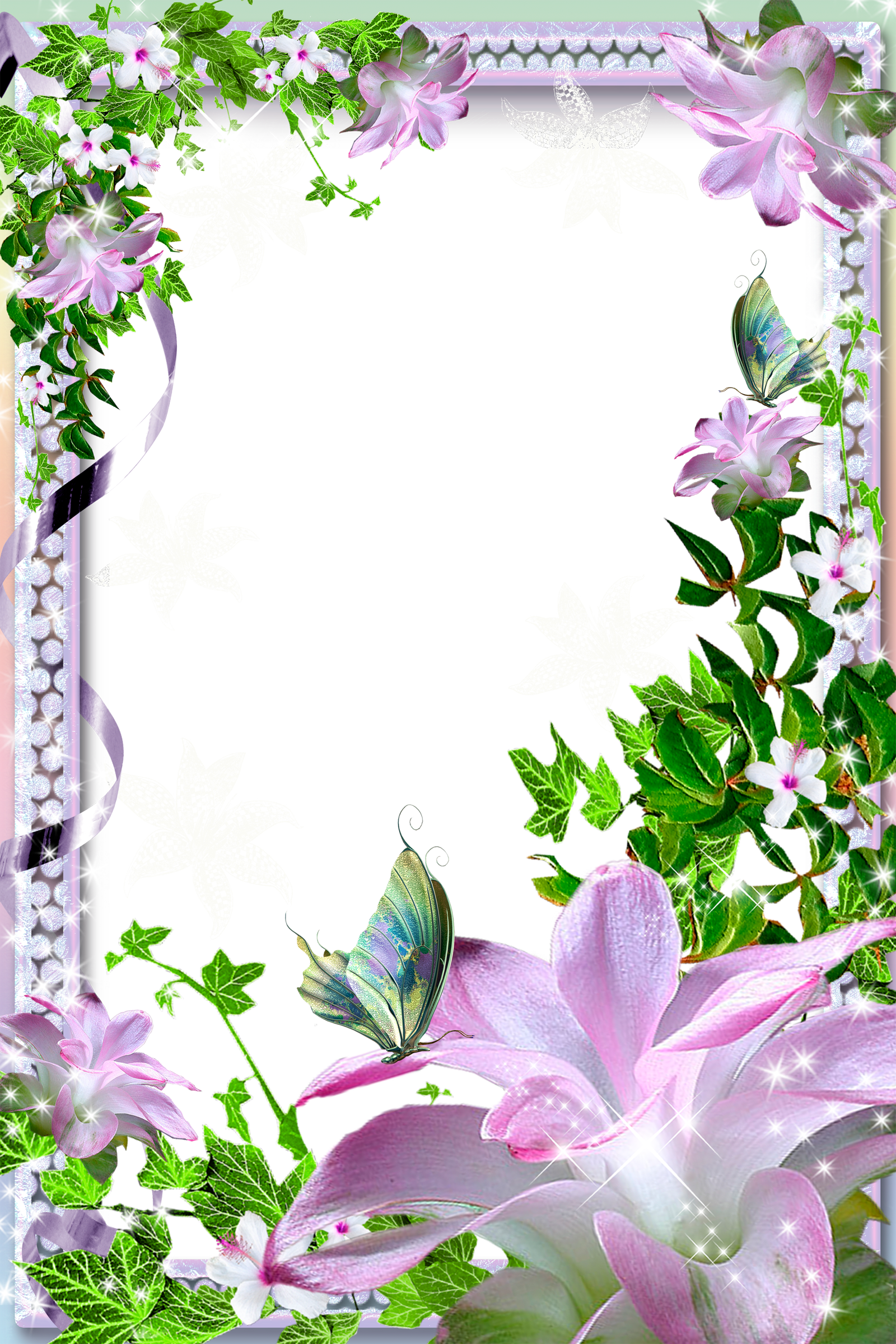 Lily flower border clipart clip art library stock Transparent PNG Photo Frame with Pink Lilies | GREAT GRAPHICS FOR ... clip art library stock