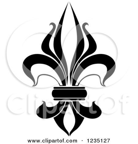 Lily graphics banner royalty free Clipart of a Black and White Lily Fleur De Lis 8 - Royalty Free ... banner royalty free