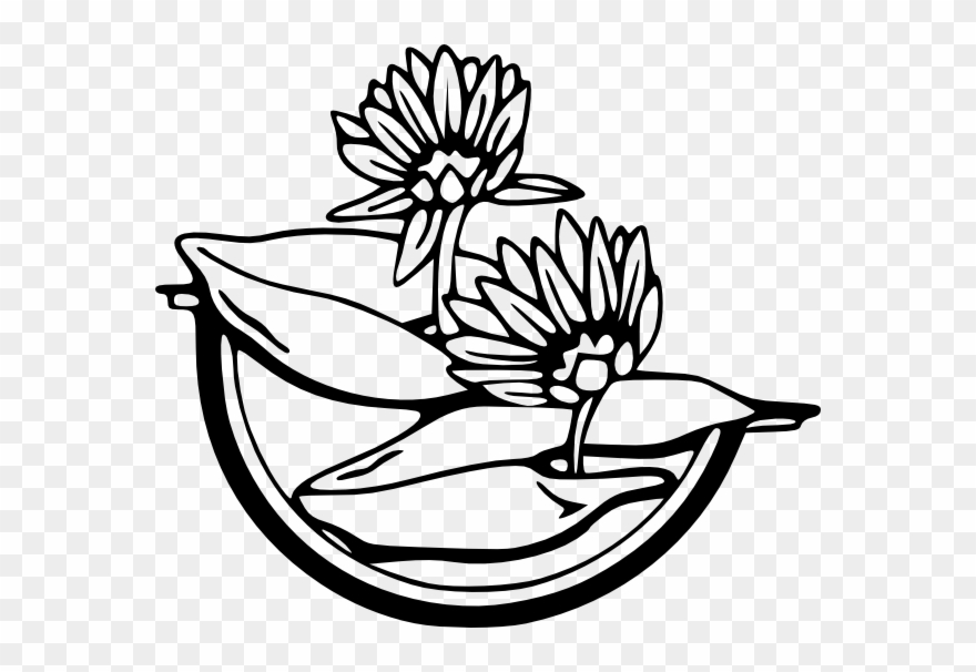 Lily pad flower clipart blach and white clip transparent Free Vector Water Lily Clip Art - Water Lily Clipart Black ... clip transparent