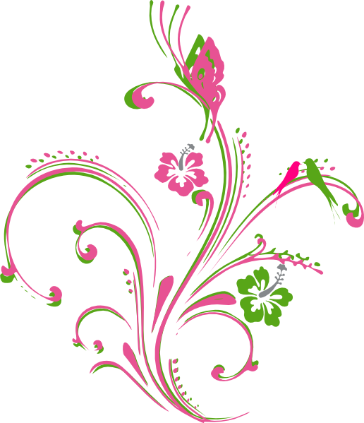 Lime green flower clipart clip freeuse library Pink Green Butterfly Scroll Clip Art at Clker.com - vector clip art ... clip freeuse library