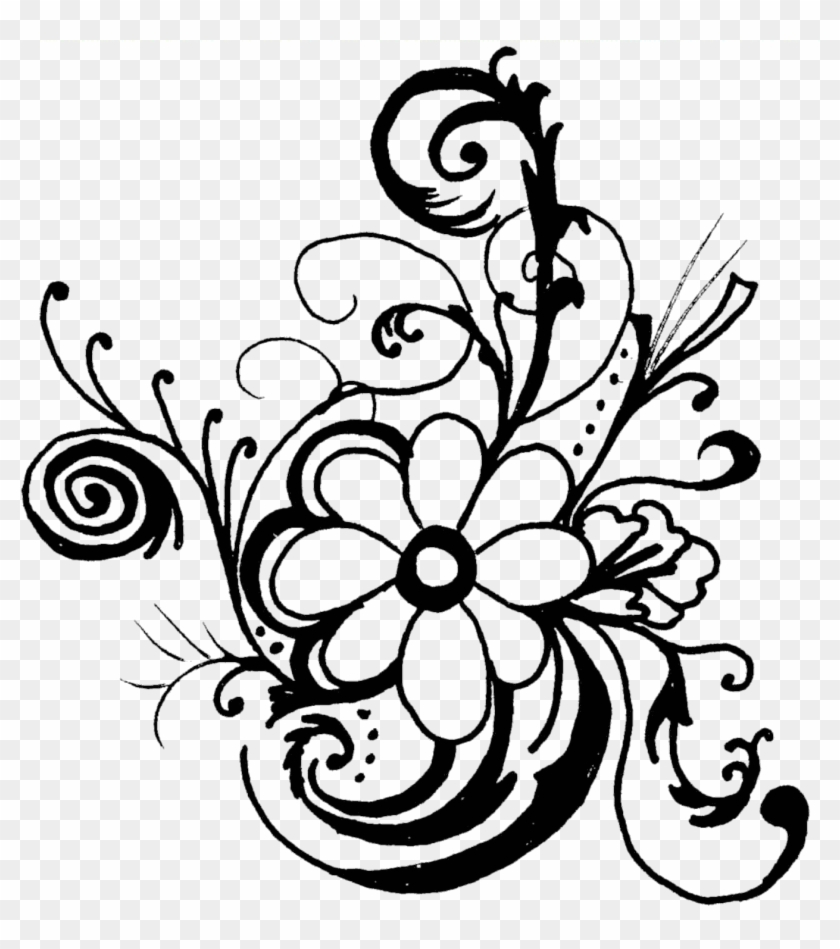 Line drawing flowers clipart svg black and white stock Fancy Lines Clipart - Flowers Clip Art Black And White ... svg black and white stock