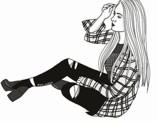 Line drawing of a woman falling clipart black and white image black and white library b&w, black and white, black&white, drawing, girl, outline ... image black and white library