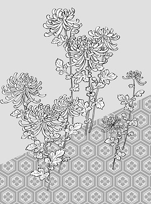 Line drawings of flowers free download black and white download Japanese line drawing of plant material -39 Vector flowers (_ ... black and white download