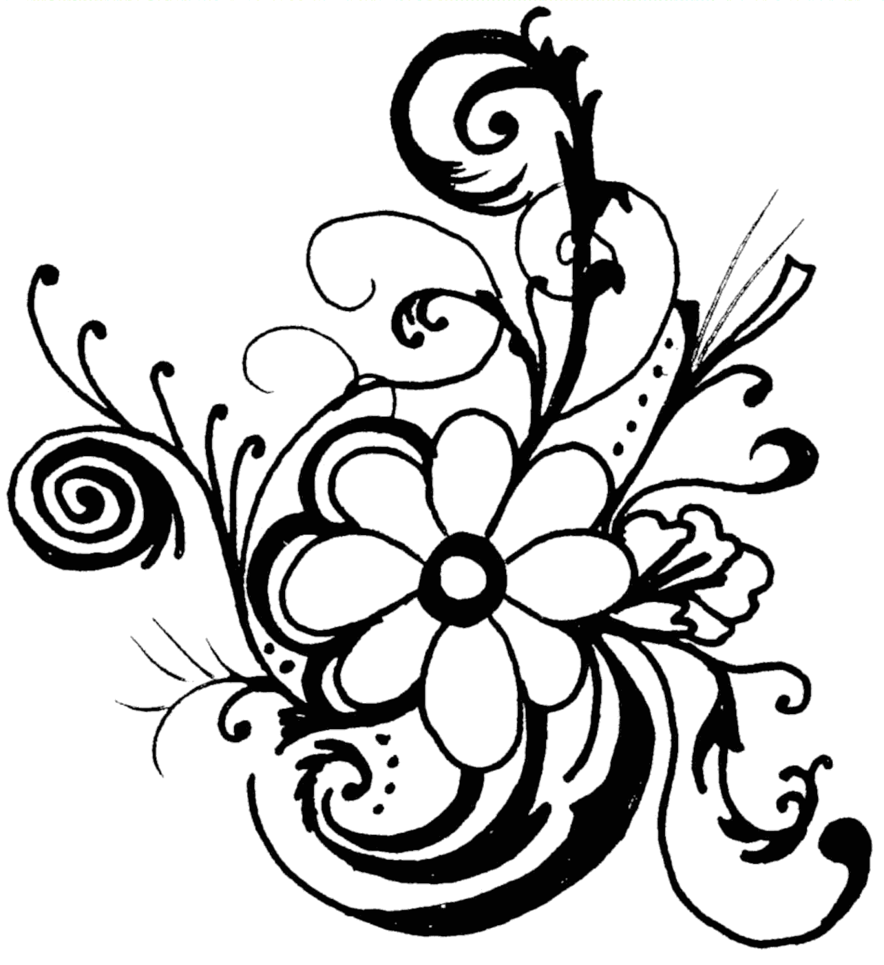 Line drawings of flowers free download svg download Line drawing flowers clip art - ClipartFest svg download