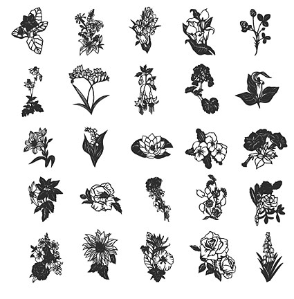 Line drawings of flowers free download svg download Line drawing flowers of various elements of | free vectors | UI ... svg download