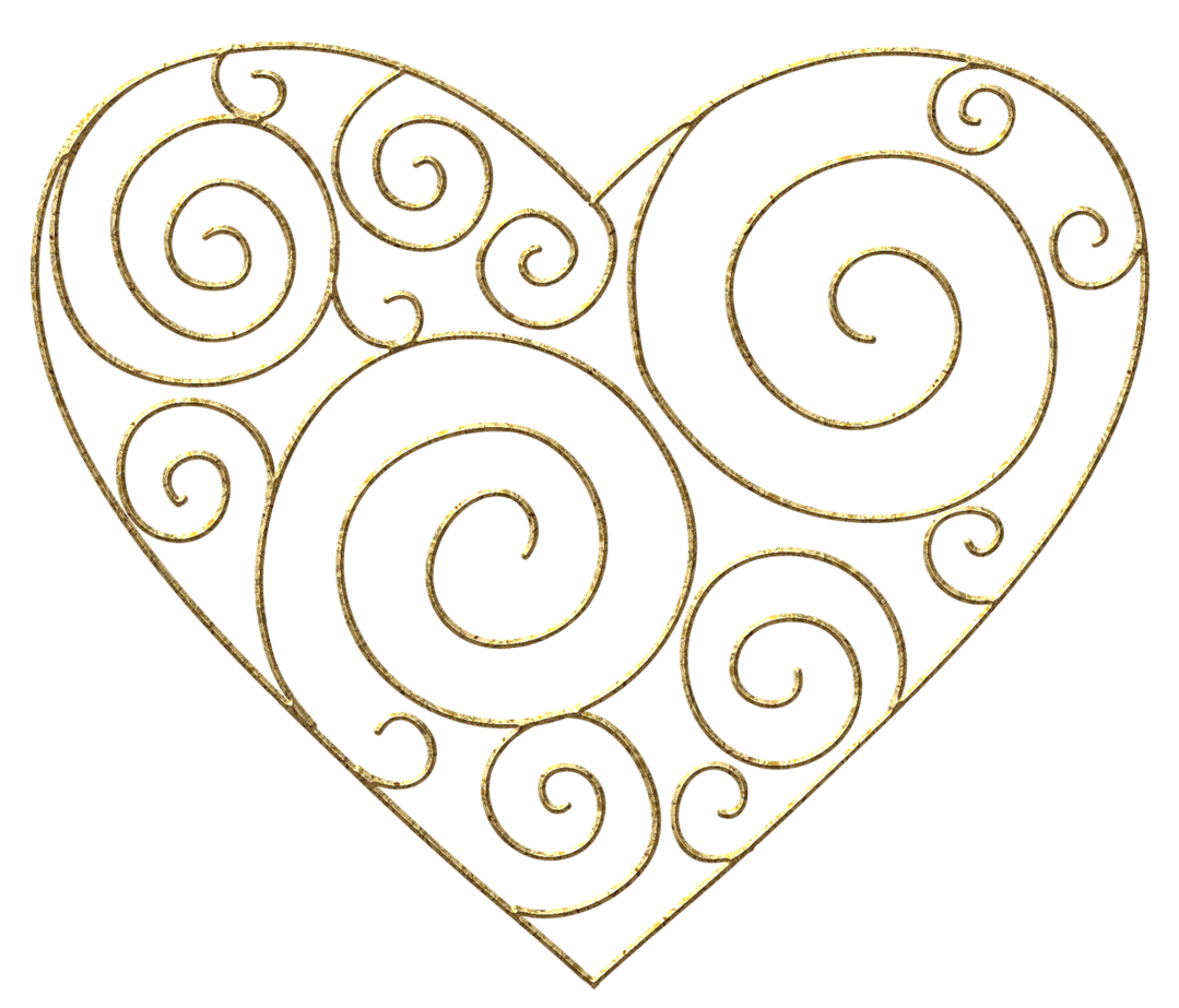 Heart and line clipart banner transparent library Gold Line Heart Clipart banner transparent library