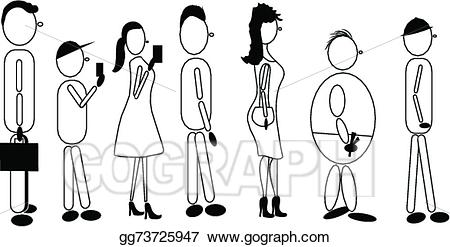 Line of people clipart royalty free stock Vector Stock - People line. Clipart Illustration gg73725947 ... royalty free stock