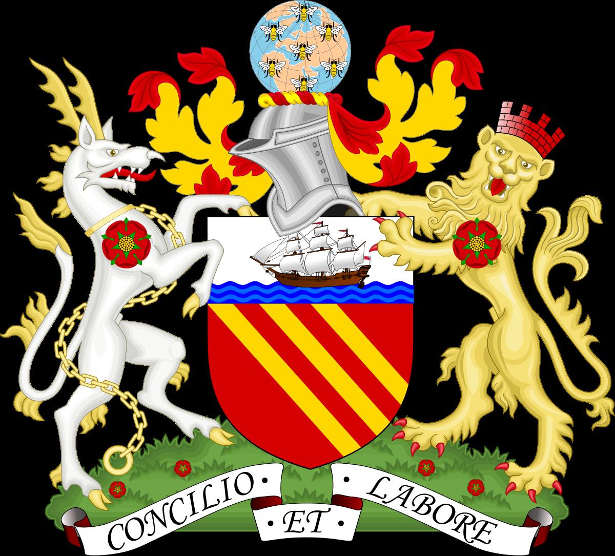 Lion & bat shield kingdom baseball clipart png royalty free Symbols of Manchester - Wikipedia png royalty free