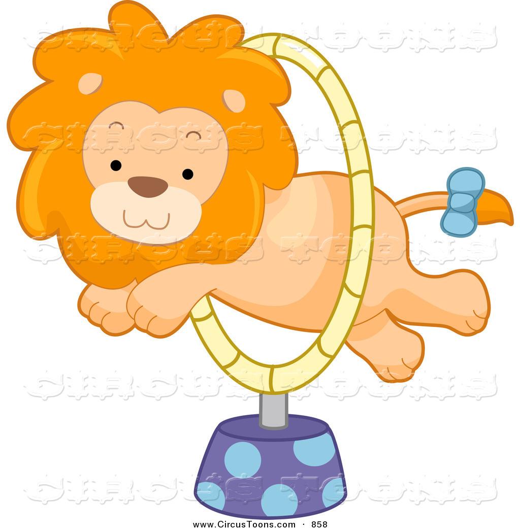 Lion circus clipart jpg Circus Clipart of a Cute Lion Leaping Through a Hoop by BNP ... jpg