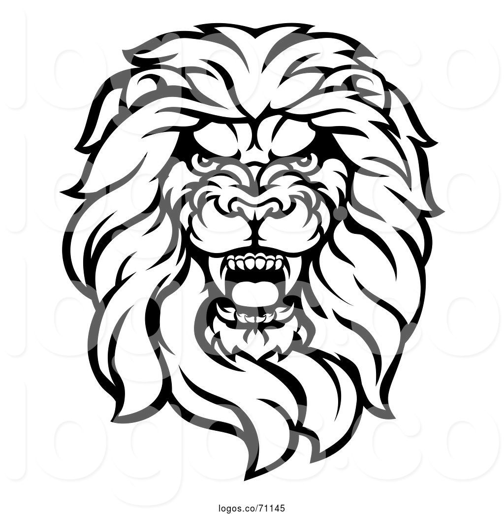Lion head mascot clipart black and white clip free download Logo of Cartoon Black and White Tough Male Lion Head Mascot ... clip free download