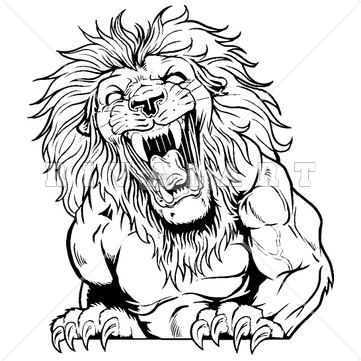 Lion head mascot clipart black and white clip art transparent stock Mascot Clipart Image of A Roaring Lions Graphic In Black And ... clip art transparent stock
