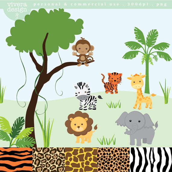 Lion in the jungle clipart