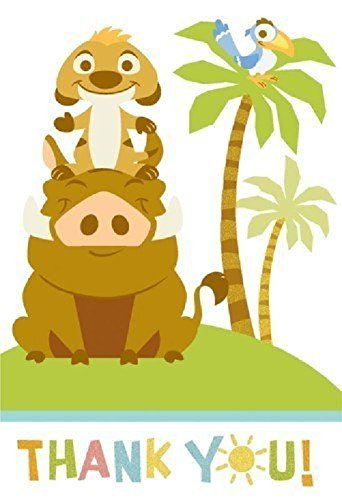 Lion king baby shower clipart clip royalty free library Amazon.com: Lion King Baby Shower Thank You Notes 8 Note ... clip royalty free library