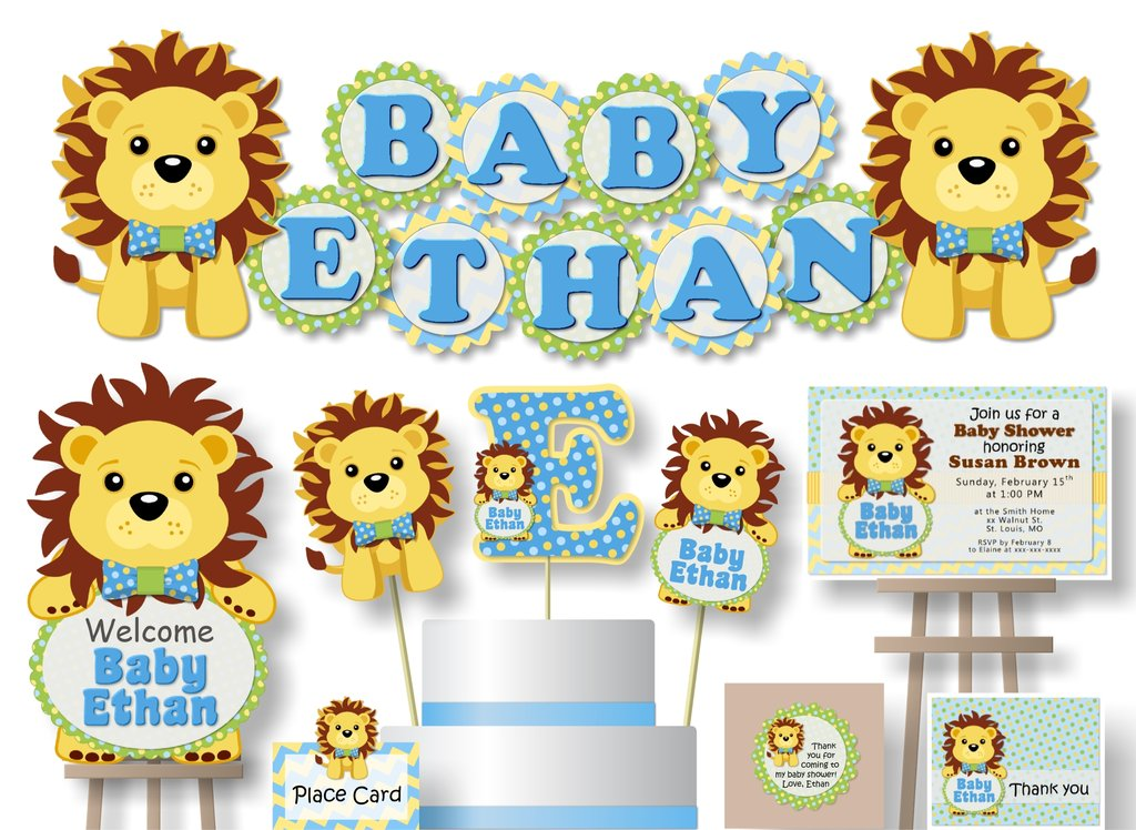 Lion king baby shower clipart banner black and white download Blue Boy Lion King Baby Shower Decorations - 8 - 4 inch Scallop Banner  \'BABY NAME\' or \'NAME IS #\' banner black and white download
