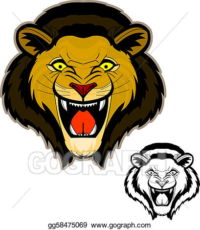 Lion roaring front view clipart svg library download Vector Stock - Roaring lion head mascot. Clipart ... svg library download