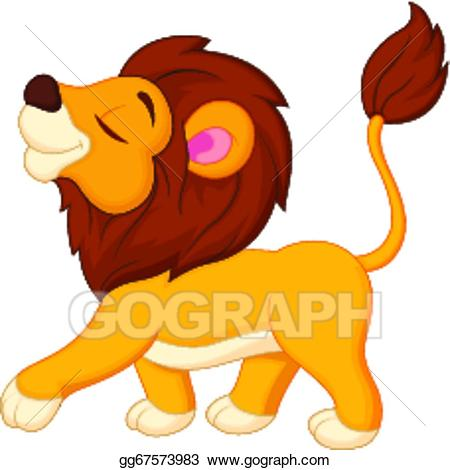 Lion walking clipart black and white library Vector Art - Lion cartoon walking . EPS clipart gg67573983 ... black and white library
