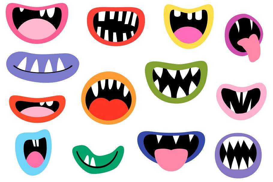 Mouth and tongue clipart vector black and white library Spooky Monster Mouths clipart, Halloween teeth lips tongues vector black and white library