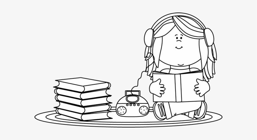 Listening clipart black and white vector black and white library Black And White Girl Listening To A Book On A Cd Player ... vector black and white library