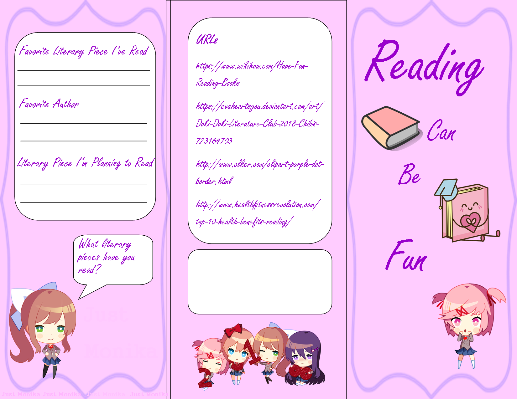 Literary border clipart clip free I Made A Brochure for school about reading (Take a look at ... clip free