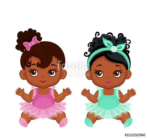 Little black baby in a tutu clipart jpg Vector cute little baby African American ballerinas in tutu ... jpg