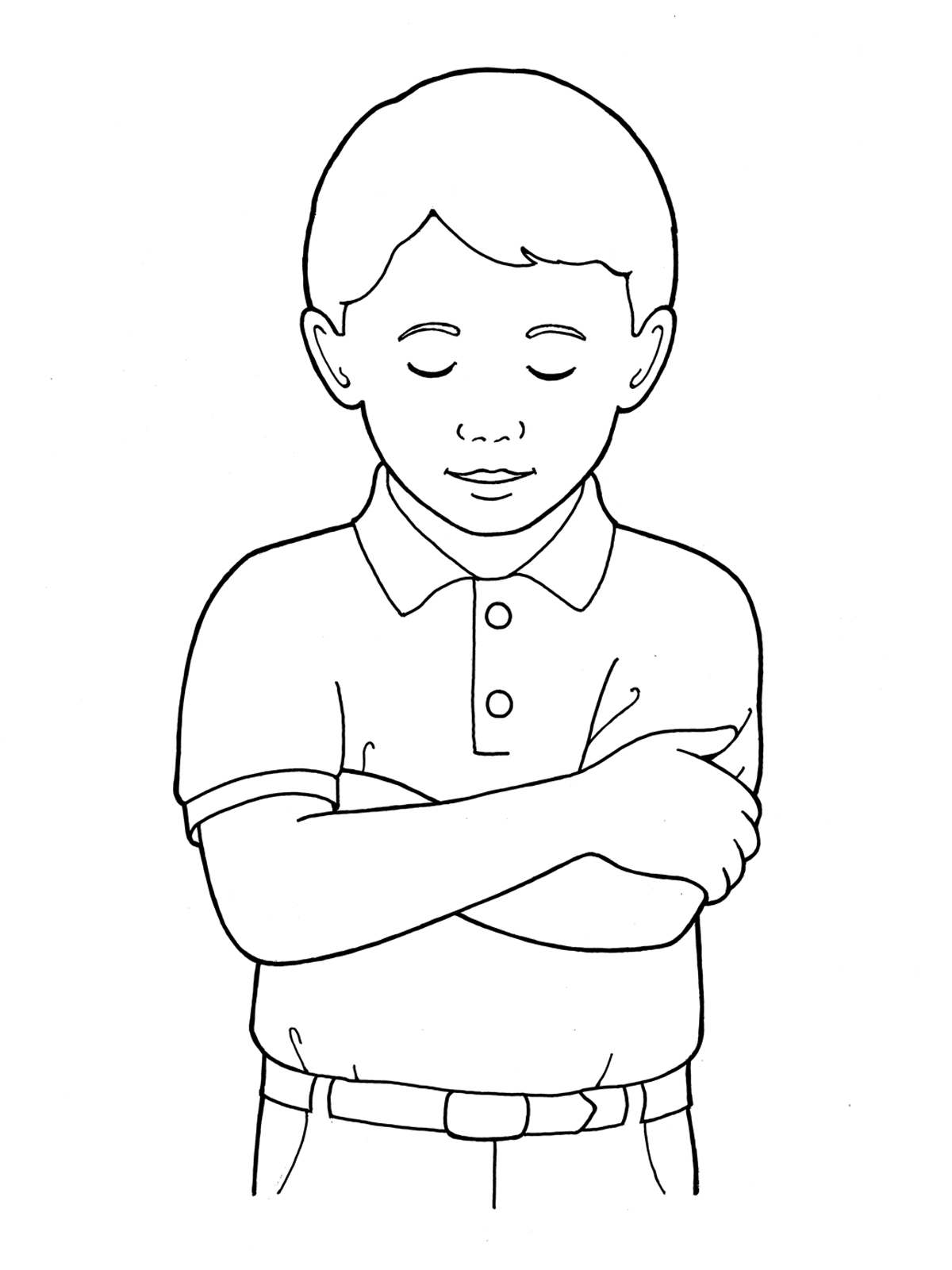 Little boy black and white lds clipart picture black and white library Primary Boy Folding Arms and Bowing Head picture black and white library
