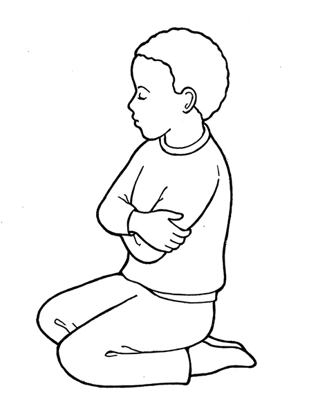 Little boy black and white lds clipart vector freeuse Kneeling in Prayer vector freeuse