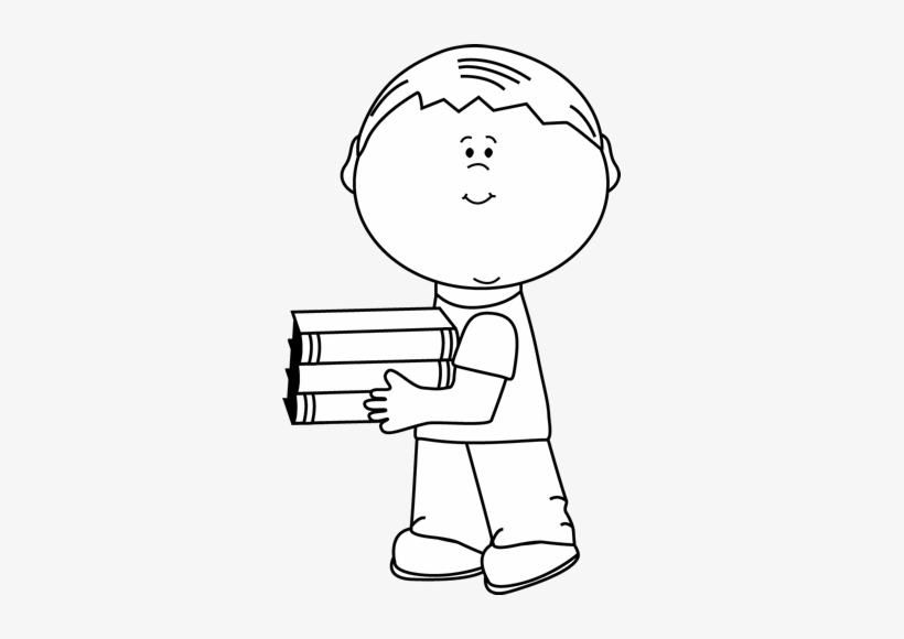Little boy clipart black and white black and white Black And White Little Boy Carrying School Books - Boy With Football ... black and white