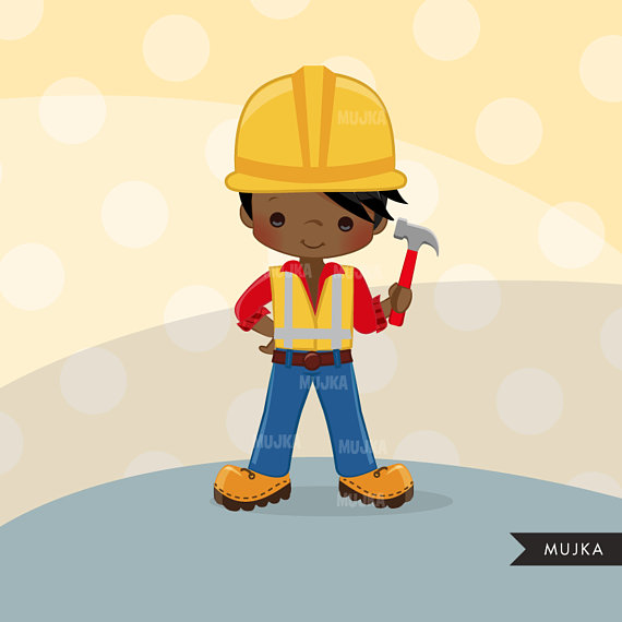 Little boy construction worker clipart svg library stock Construction Clipart. Little Boy contractor Graphics, hard hat ... svg library stock