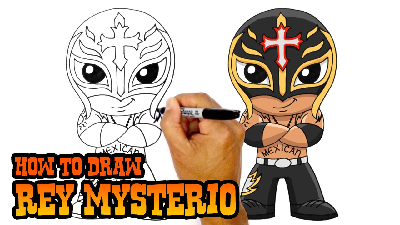 Little boy dressed as professional wrestler cartoon clipart stock How to Draw Rey Mysterio   WWE Superstars stock