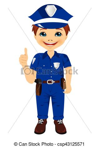 Little boy giving thumbs up clipart jpg black and white download Vectors Illustration of smiling little boy wearing police uniform ... jpg black and white download