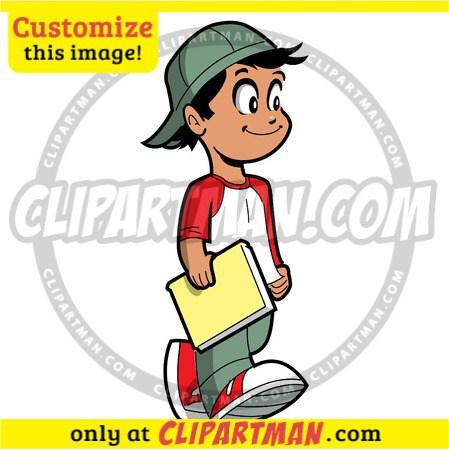 Little boy holding number 1 clipart jpg Little Boy clipart holding Book cartoon reader custom stock vector jpg