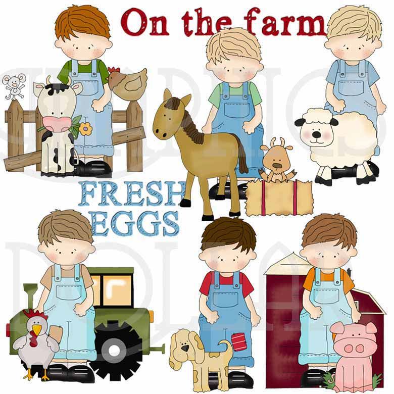 Little boy on bale of hay clipart image free My Little Guy on the Farm Exclusive Clip Art - Graphics Dollar image free