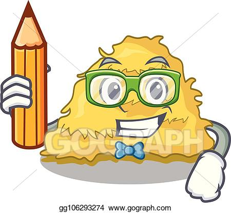 Little boy on bale of hay clipart png transparent download Clip Art Vector - Student hay bale character cartoon. Stock EPS ... png transparent download
