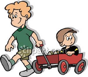 Little boy pulling wagon full of food clipart