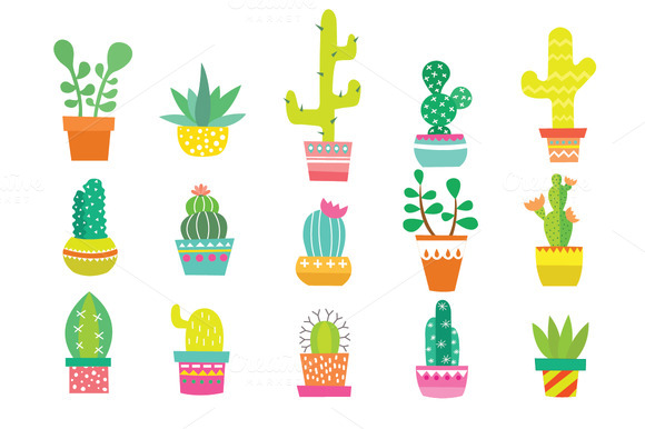 Little cactus cliparts vector free library Cactus clip art hand painted illustrations on creative market ... vector free library