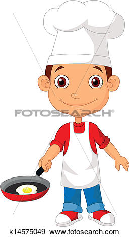 Little chef clipart graphic library download Clip Art of Little chef cartoo with frying pan k14575049 - Search ... graphic library download