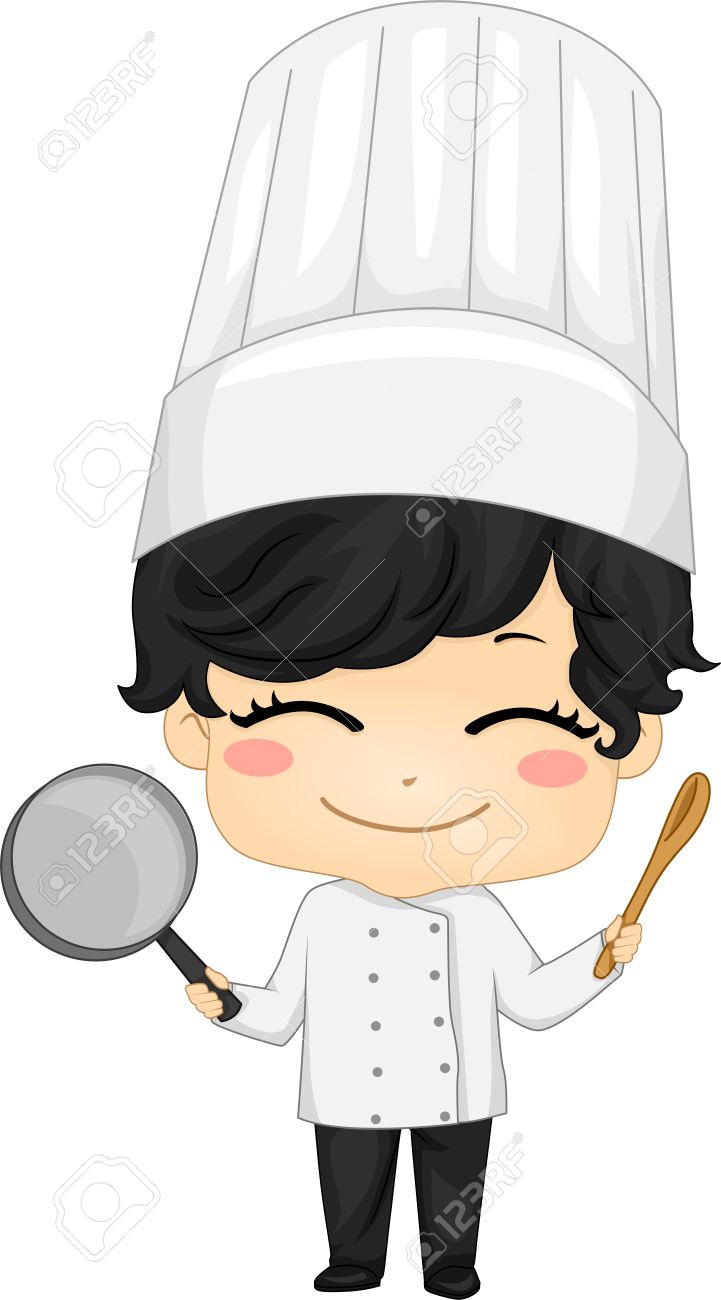 Little chef clipart image stock Illustration Of Little Chef Boy Holding A Saucepan And A Kitchen ... image stock