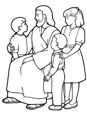 Little children black and white clipart free image black and white library The Little Children and Jesus coloring page | Free Printable ... image black and white library