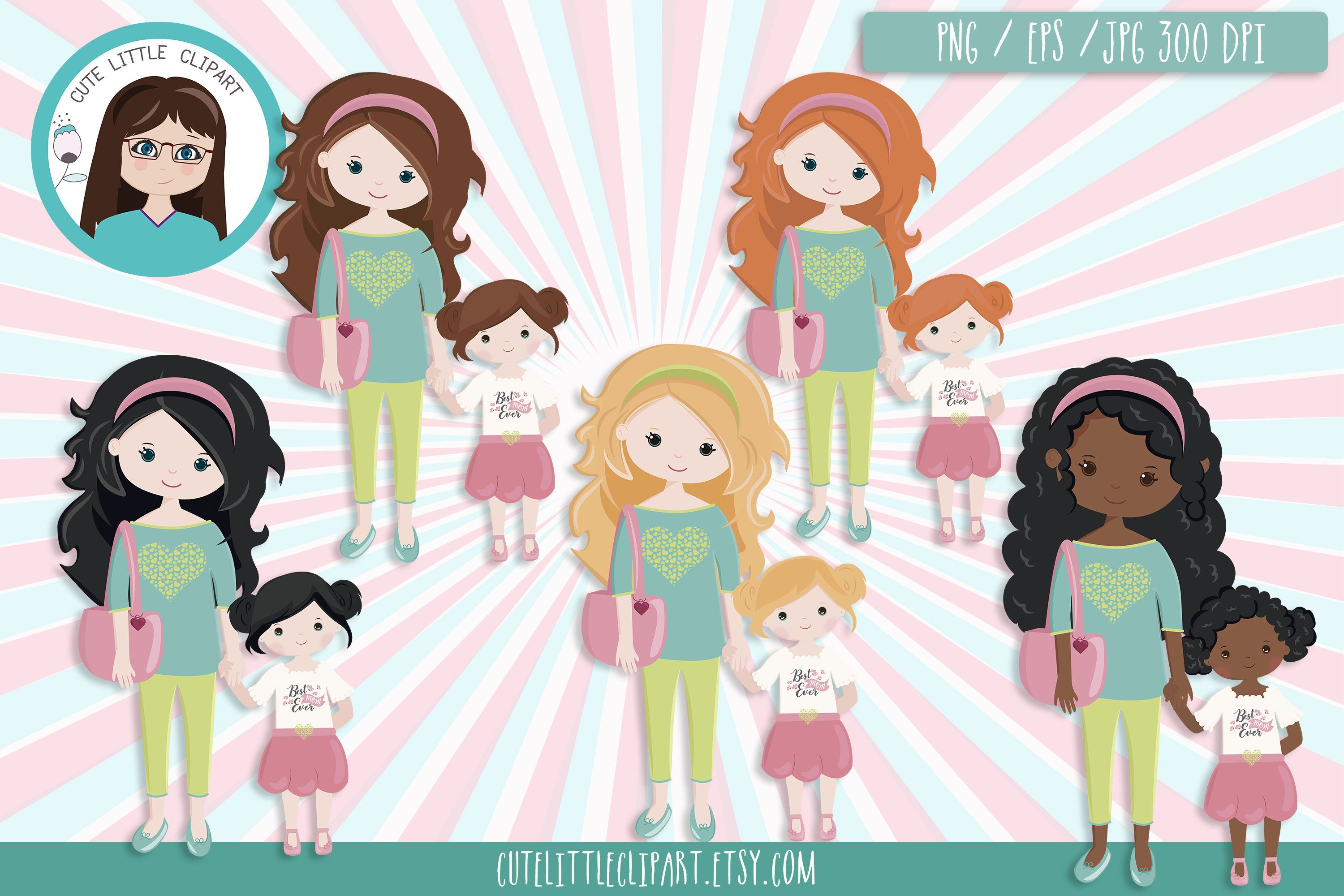 Little girl and mom clipart image free download Mother\'s Day clipart, Mom with little daughter clipart | Mom and ... image free download