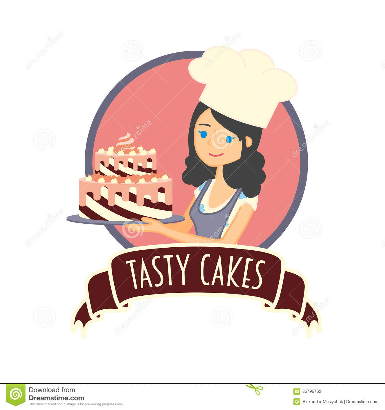 Little girl baker clipart vector free library Cute Girl Or Young Woman Baker Holding A D #307113 - Clipartimage.com vector free library