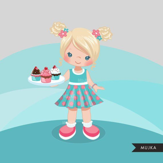 Little girl baker clipart vector royalty free library Cupcake chef clip art, baker, cookie & sweets. Baking girl graphics ... vector royalty free library