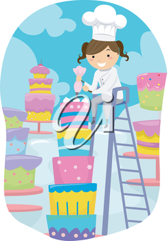 Little girl baker clipart banner transparent download Stickman Illustration of a Little Girl Dressed as a Baker Putting ... banner transparent download